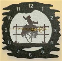 Rustic Metal Clock- Bucking Bronco Design
