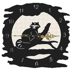 Rustic Metal Clock- Raccoon Design