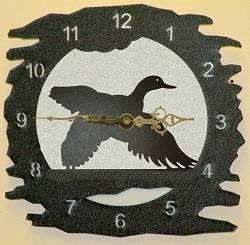 Rustic Metal Clock- Flying Duck Design