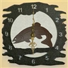 Rustic Metal Clock- Trout Design