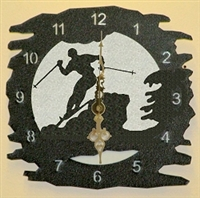 Rustic Metal Clock- Skier Design