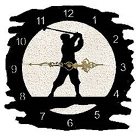 Rustic Metal Clock- Golfer Design