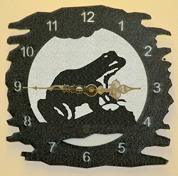 Rustic Metal Clock- Frog Design