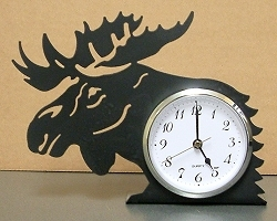 Rustic Metal Silhouette Desk Clock - Moose Design