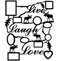 Rustic Live Laugh Love Collage Picture Frame- Moose Design