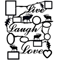 Rustic Live Laugh Love Collage Picture Frame- Elk Design