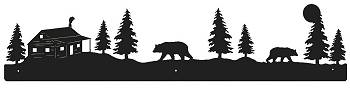 Rustic Scenery Style Wall Art - Bear and Cabin Design
