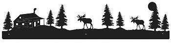 Rustic Scenery Style Wall Art - Moose and Cabin Design