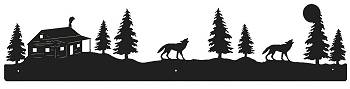 Rustic Scenery Style Wall Art - Wolf and Cabin Design