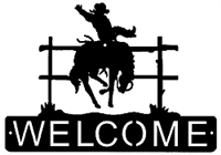 Horizontal Welcome Sign- Bucking Bronco Design