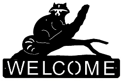 Horizontal Welcome Sign- Raccoon Design