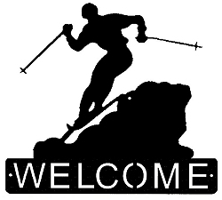 Horizontal Welcome Sign- Skier Design