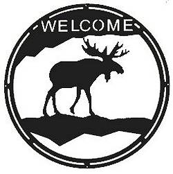 Round Welcome Sign- Moose Design