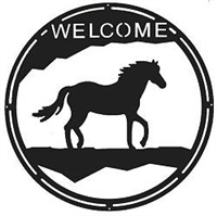 Round Welcome Sign- Horse Design