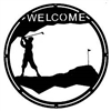 Round Welcome Sign- Golfer Design