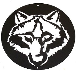 Circle Wall Art- Wolf Head Design