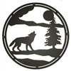 Circle Wall Art- Wolf and Tree Design