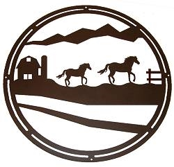 Circle Wall Art- Horse and Barn Design