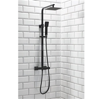 Lunar Black Square Rigid Riser Shower