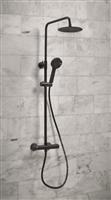 Middleton Black Round Rigid Riser Shower