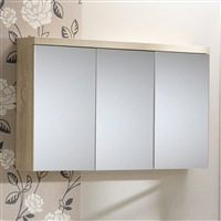 Eden 100 Mirrored Cabinet - 3 Doors Gloss White