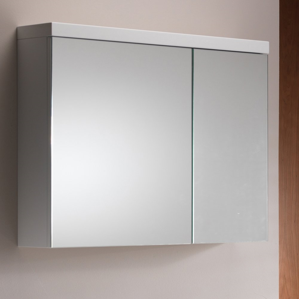 & Eden 80 Mirrored Cabinet - 2 Doors Gloss White