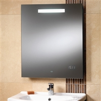 Rania Mirror With Integrated Back-Lit Light, LED Clock & Shaver Socket