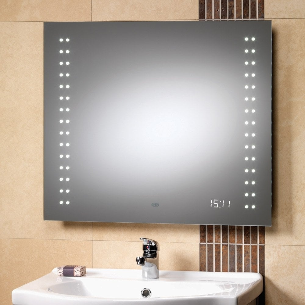 Discovery Mirror With Integrated LED Lights & LED Clock