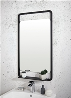 Mono Black Soft Square Mirror with Shelf 500 x 900mm