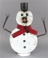 61-097 Tin Snowman On Plaque