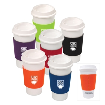 Budget Plastic To-Go Cup with Neoprene Sleeve - 17 oz.