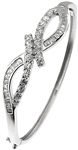 Silver Bangle with Round and Baguette CZ