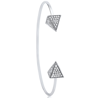 Silver Cuff Bangle with CZ