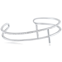 Silver Double Cross Bangle with CZ