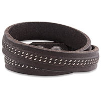 Alloy Dark Brown Leather Wrap Bracelet