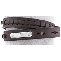 Alloy Dark Brown Leather Bracelet