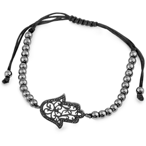 Adjustable Hamsa Bead Brass Bracelet With Micro Set Black CZ