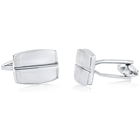 Brass Rectangular Polished Cufflink With Rhodium Plating