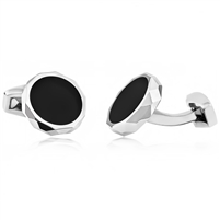 Brass Decagon Shape Cufflink With Black Onyx and Rhodium Plating