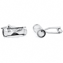 Brass Hourglass Cufflink With Rhodium Plating