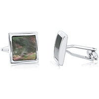 Brass Square Cufflink With Black Mother Of Pearl Rhodium Plating