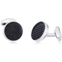 Brass Cufflink With Rhodium and Black Carbon Fiber