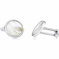 Brass Cufflink With Rhodium And Mother Of Pearl