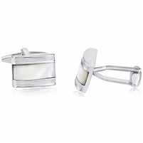 Brass Cufflink With Mother of Pearl - Rhodium Plated