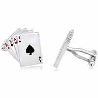 Brass Cufflink Poker Ace Playing Cards With Enamel and Rhodium Plated