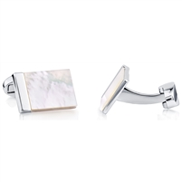 Brass Rhodium Plated Cufflink With White Shell