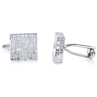 Brass Rhodium Plated Cufflink With Mirror Pattern