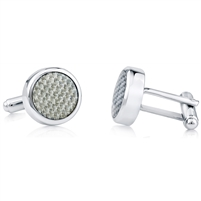 Brass Rhodium Plated Silver Carbon Fibre And Transparent Enamel Cufflink