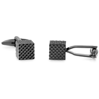 Brass Rhodium Black Plated Cufflink Cube