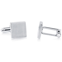 Brass Rhodium Plated and Laser Cufflink